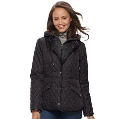 Juniors' Sebby Fleece Bib Hooded Quilted Jacket