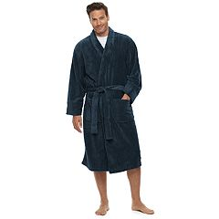 5701077d8dffc Men's Hanes Ultimate Plush Soft Touch Robe. Navy Charcoal