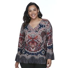 Plus Size Apt. 9® Paisley Ruffle Top