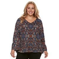 Plus Size Apt. 9® Scroll Bell Sleeve Blouse