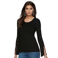 Women's Jennifer Lopez Ribbed Stud Sweater