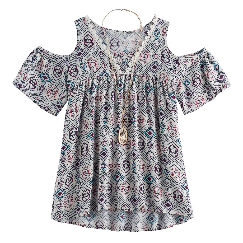 Girls 7-16 Self Esteem Printed Cold Shoulder Top with Necklace