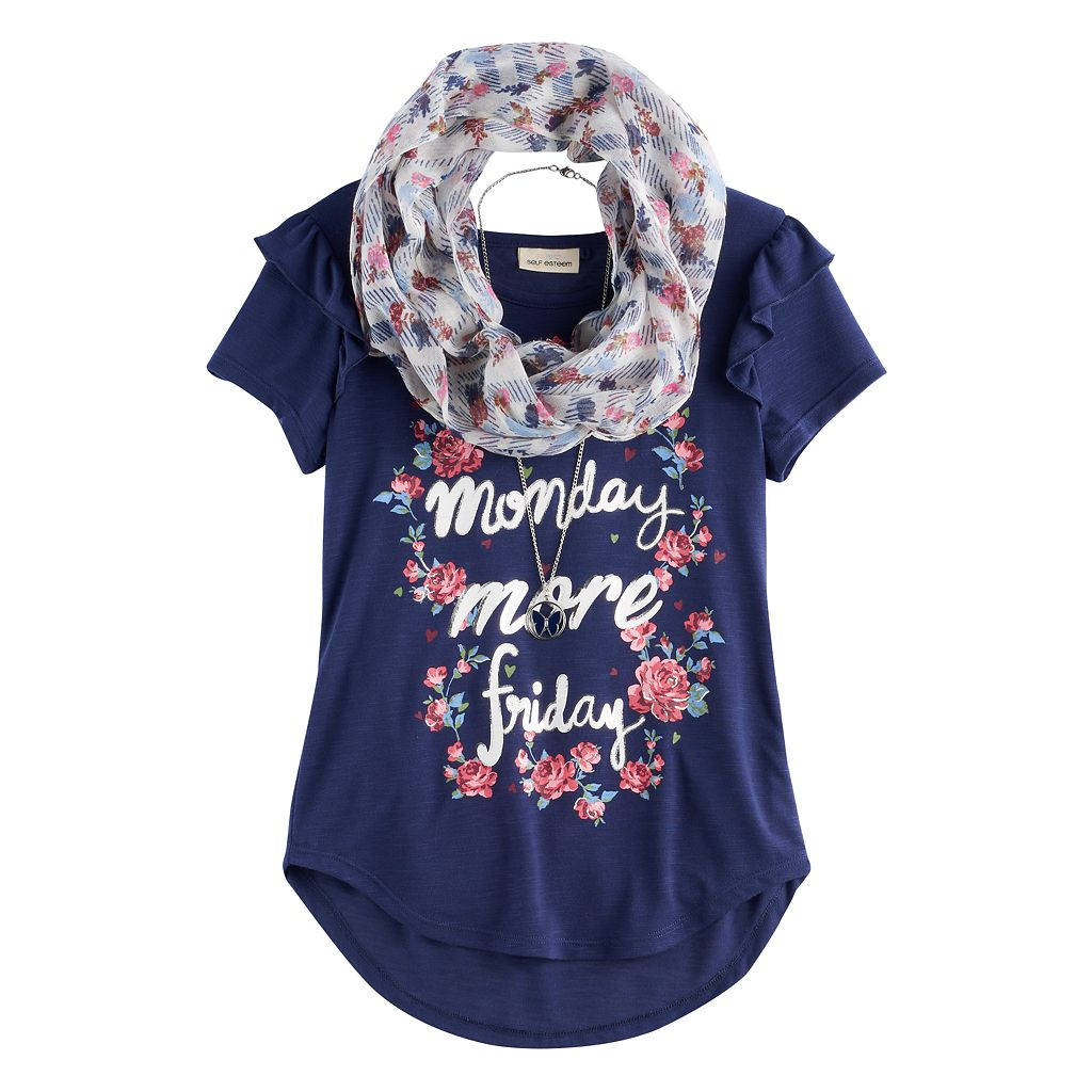 Girls 7-16 Self Esteem Ruffled Sleeve Tee with Infinity Scarf & Necklace