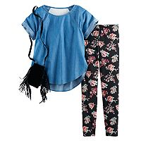 Girls 7-16 Self Esteem Chambray Lace Back Top & Floral Leggings Set with Fringe Crossbody Purse