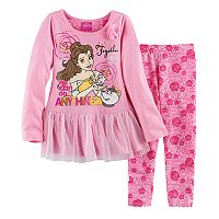 Disney's Beauty and the Beast Belle Toddler Girl Tulle Tunic & Rose Leggings Set