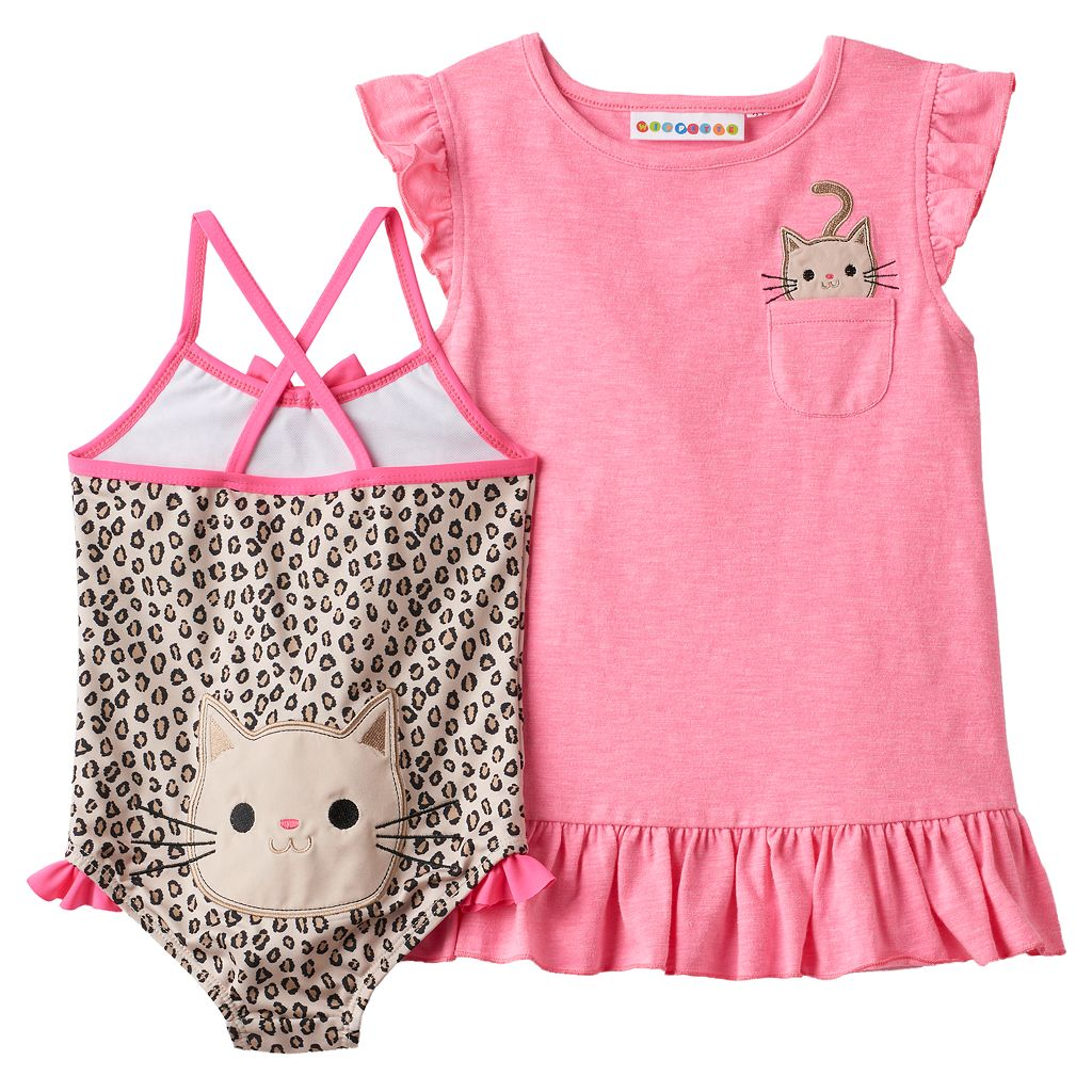 Baby Girl Wippette Cat Cover Up & Cheetah Print One-Piece Swimsuit Set