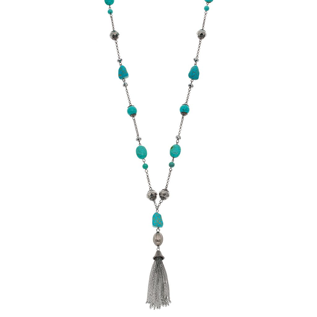Simulated Turquoise Beaded Tassel Y Necklace