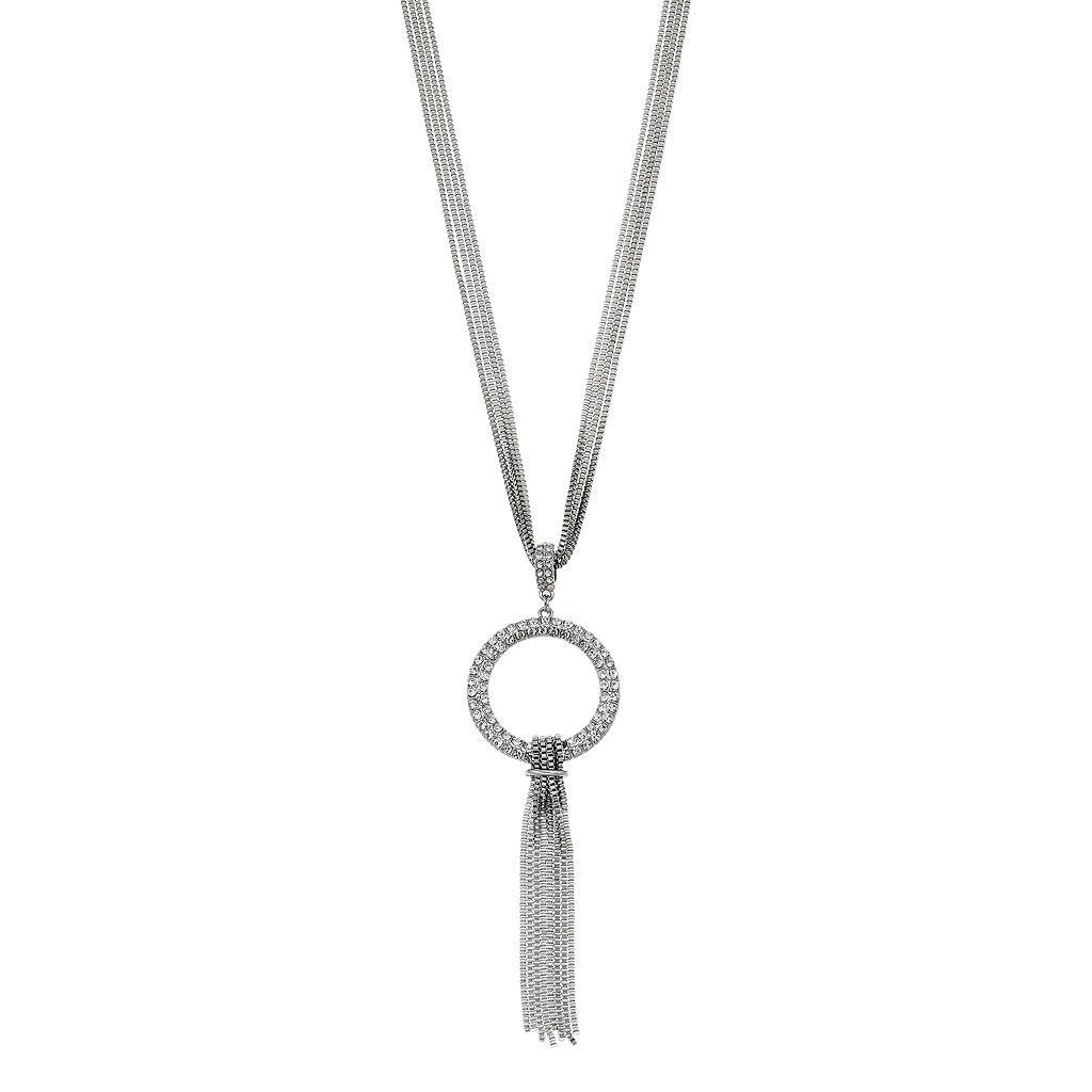 Pave Circle Tassel Pendant Necklace
