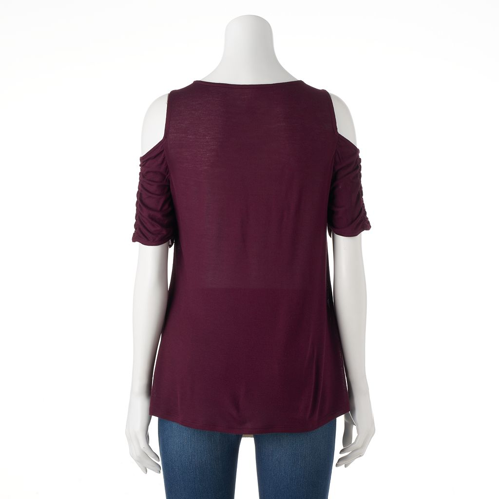 Women's Jennifer Lopez Ruched Cold-Shoulder Tee