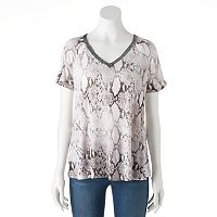 Women's Jennifer Lopez Cutout Embellished Tee