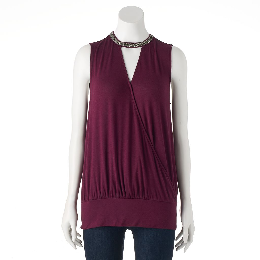Women's Jennifer Lopez Beaded Keyhole Tank