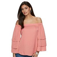 Women's Jennifer Lopez Off-the-Shoulder Tiered Ruffle Top