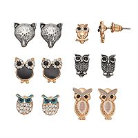 Mudd® Owl & Fox Nickel Free Earring Set
