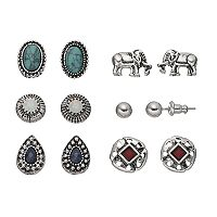Mudd® Elephant, Teardrop & Simulated Turquoise Nickel Free Earring Set