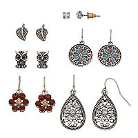 Mudd® Owl, Flower, Leaf & Teardrop Nickel Free Earring Set