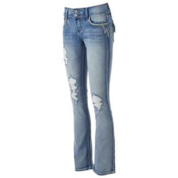 Juniors' Hydraulic Lola Curvy Faded Ripped Bootcut Jeans