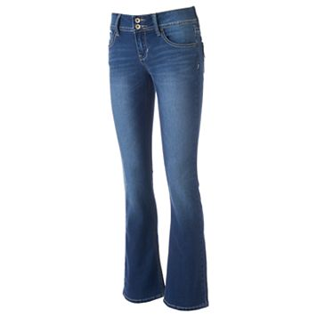 Juniors' Hydraulic Stiletto Faded Bootcut Jeans