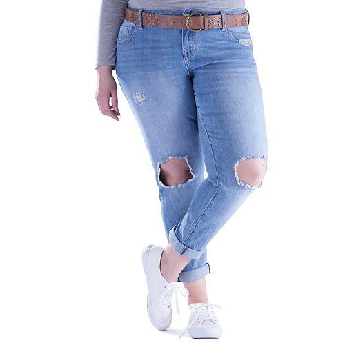 Juniors' Plus Size Amethyst Ripped Girlfriend Skinny Jeans
