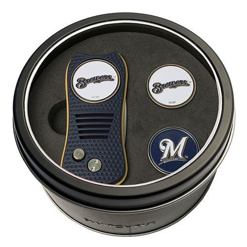 Team Golf Milwaukee Brewers Switchfix Divot Tool & Two Ball Markers