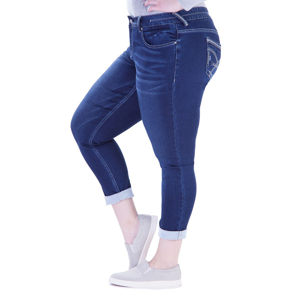 Juniors' Plus Size Amethyst Cuffed Skinny Jeans