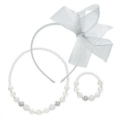 Girls 4-16  Bow Headband, Necklace & Bracelet Set