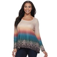 Plus Size World Unity Printed Dip-Dyed Top