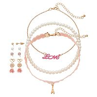 Girls 4-16 9 pc Earrings & Choker Necklace Set