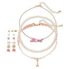 Girls 4-16 9-pc. Earrings & Choker Necklace Set