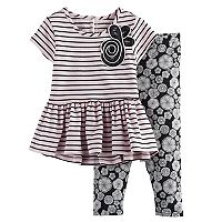 Baby Girl Marmellata Classics Striped Peplum-Hem Tunic & Leggings Set