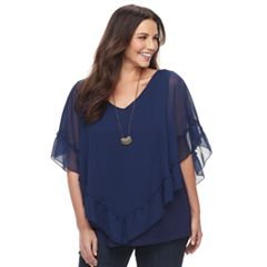 Plus Size Apt. 9® Ruffled Yoryu Top with Necklace