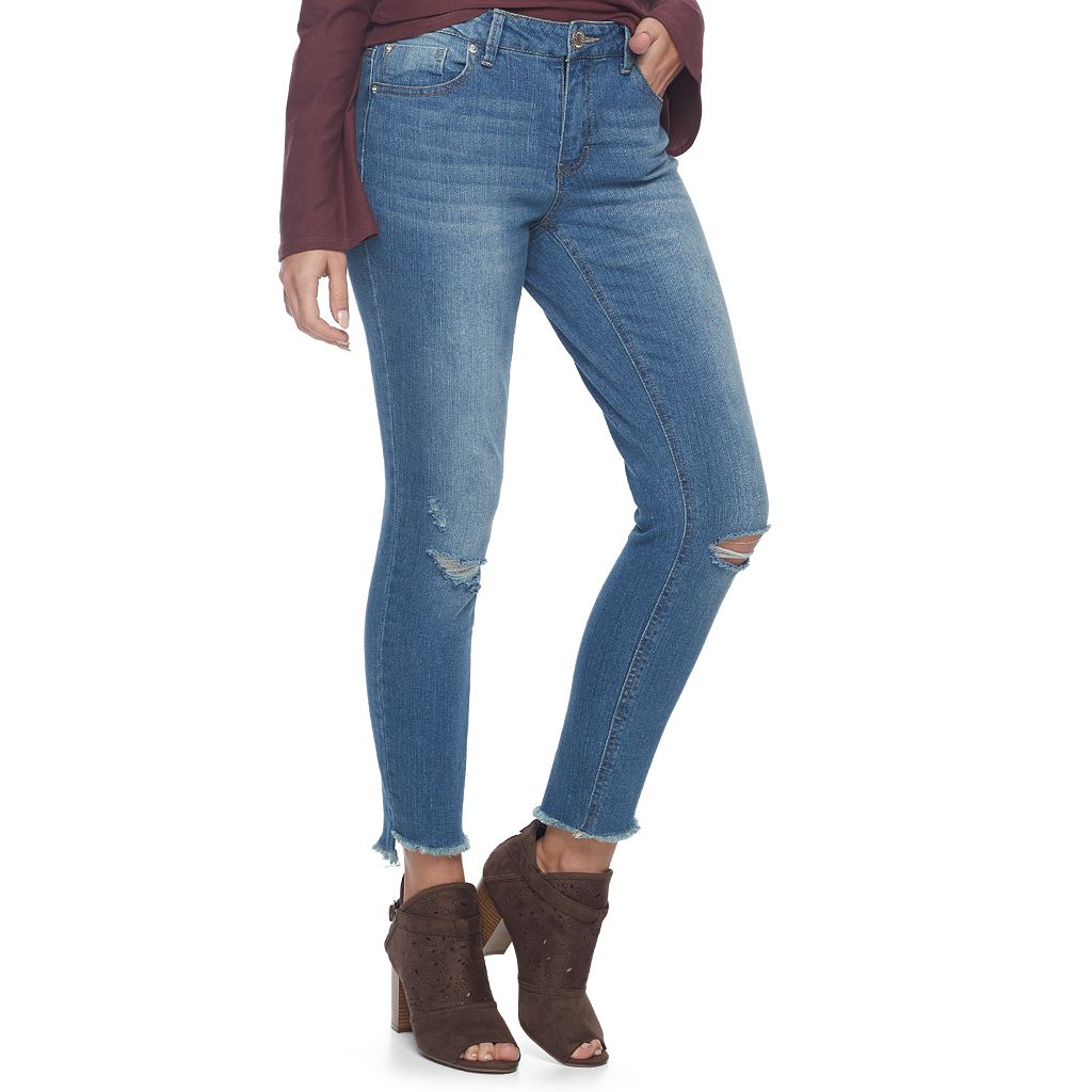 Juniors' Almost Famous Fray Hem Ripped Skinny Jeans