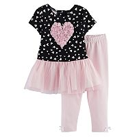 Baby Girl Marmellata Classics Heart Tulle Dress & Leggings Set