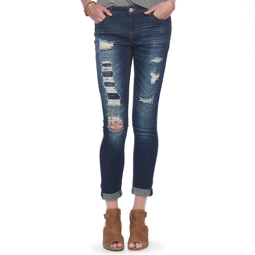 Juniors' Almost Famous Ripped Cuffed Skinny Jeans