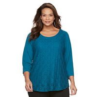 Plus Size Croft & Barrow® Geometric Cutout 3/4-Sleeve Top