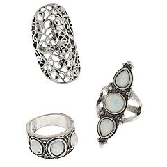 Mudd® Simulated Stone Filigree Ring Set