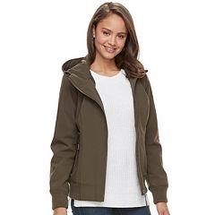 Juniors' Sebby Hooded Softshell Bomber Jacket