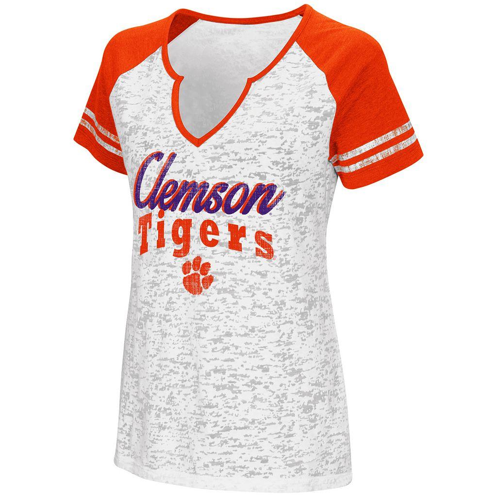 Women's Campus Heritage Clemson Tigers Notch-Neck Raglan Tee