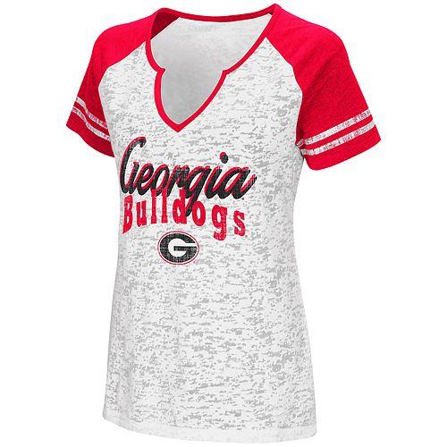 Women's Campus Heritage Georgia Bulldogs Notch-Neck Raglan Tee
