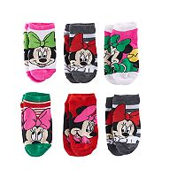 Disney's Minnie Mouse Girls 4-6x Christmas 6 pkNo-Show Socks