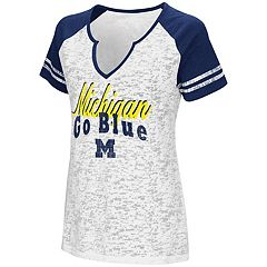 Women's Campus Heritage Michigan Wolverines Notch-Neck Raglan Tee