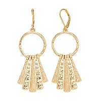 Dana Buchman Textured Stick Drop Hoop Earrings