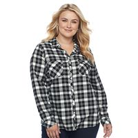 Plus Size Croft & Barrow® Flannel Plaid Button-Down Shirt