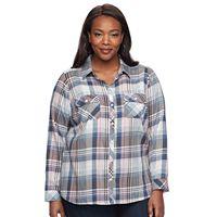 Plus Size Croft & Barrow® Plaid Flannel Shirt