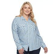 Plus Size Croft & Barrow® Flannel Plaid Button-Down Shirt