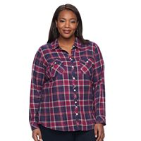 Plus Size Croft & Barrow® Plaid Flannel Shirt