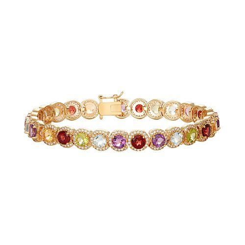 14k Gold Over Silver Gemstone Halo Link Bracelet