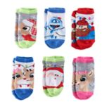 Girls 4-6x Rudolph the Red Nosed Reindeer 6 pkNo-Show Socks