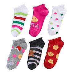 Girls 4-16 6-pk. Christmas Cookie & Santa Claus No Show Socks