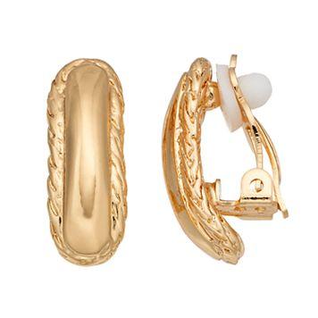 Dana Buchman Textured Trim Curved Bar Clip On Earrings