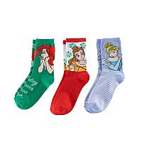Disney's Ariel, Belle & Cinderella Girls 4-6x Holiday 3 pkCrew Socks